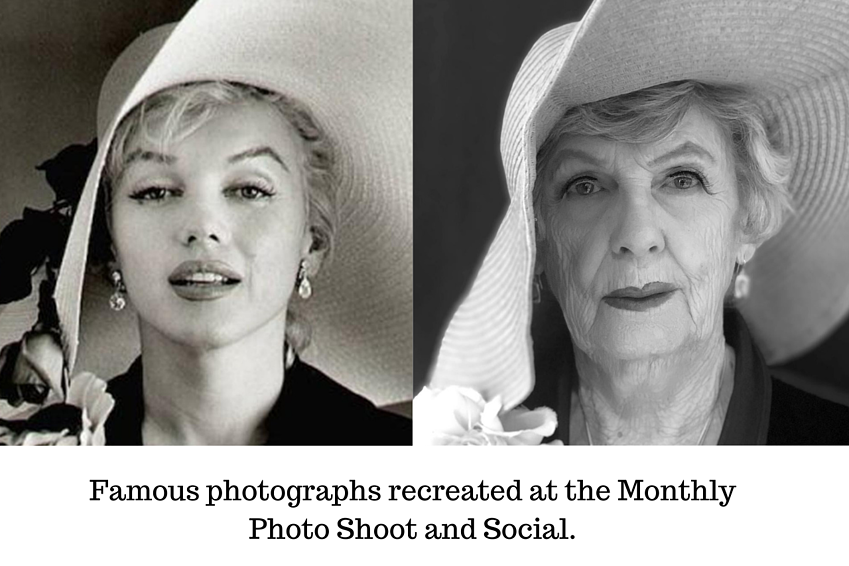 Famous photographs recreated at the Monthly Photo Shoot and Social.